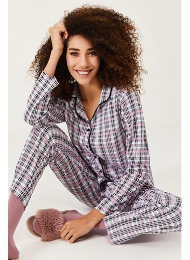 XHAN Bebek Pembesi Çizgili Pamuklu Örme Pijama Takımı 1Kxk8-44581-57 Beyaz
